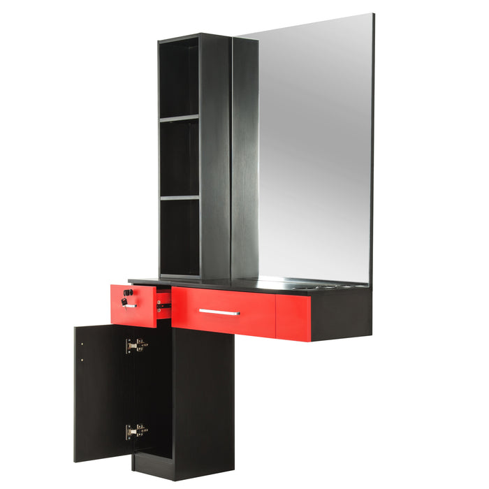 BarberPub Wall Mount Hair Styling Barber Station with Mirror Beauty Salon Spa Equipment 3036