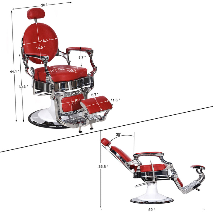 BarberPub Vintage Barber Chair All Purpose Heavy Duty Metal Hydraulic Recline Salon Beauty Spa Chair Equipment 3860