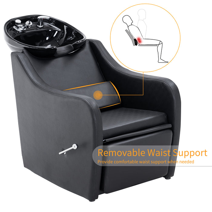 BarberPub Shampoo Barber Backwash Chair Extended, Ceramic Shampoo Bowl Sink Chair Station for Spa Beauty Salon 9090