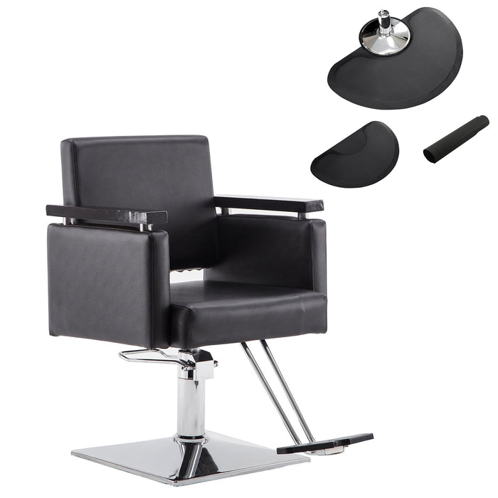 BarberPub Classic Hydraulic Barber Chair Salon Beauty Spa Styling Chair Black , Floor Mat 8803BK&0020BK