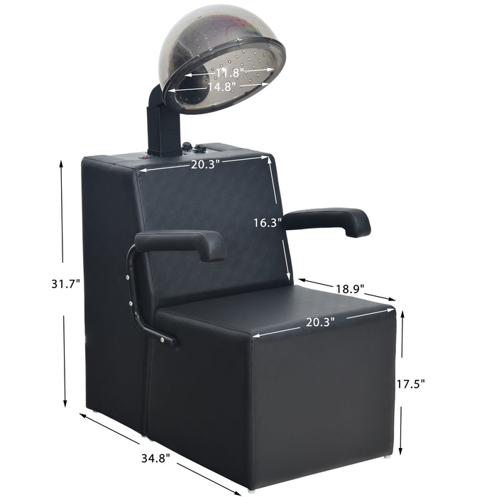 BarberPub Hair Dryer Chair with Dryer Combo for Hair Stylist, Hooded Hair Dryer Chair, Extra Large Hood, Five-Position Heat Control & 60 Minute Timer, Professional Salon Spa Equipment 9329 (1300W)