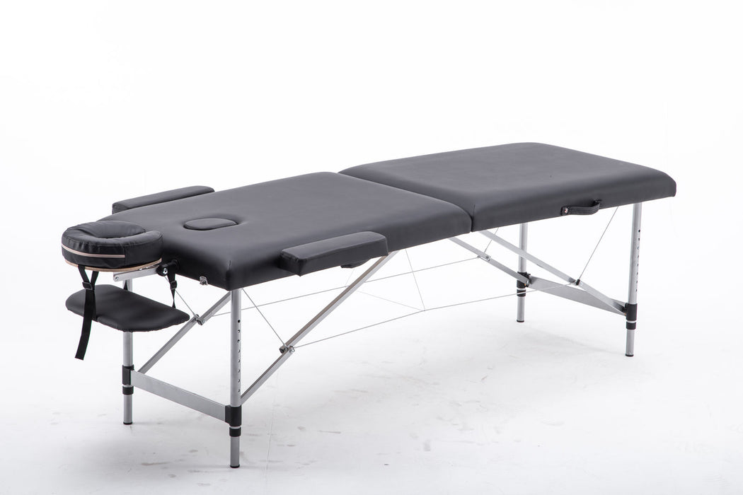 2'' Pad Aluminum Portable Massage Table Bed Spa Facial Free Carry Case 6150-AL22BK