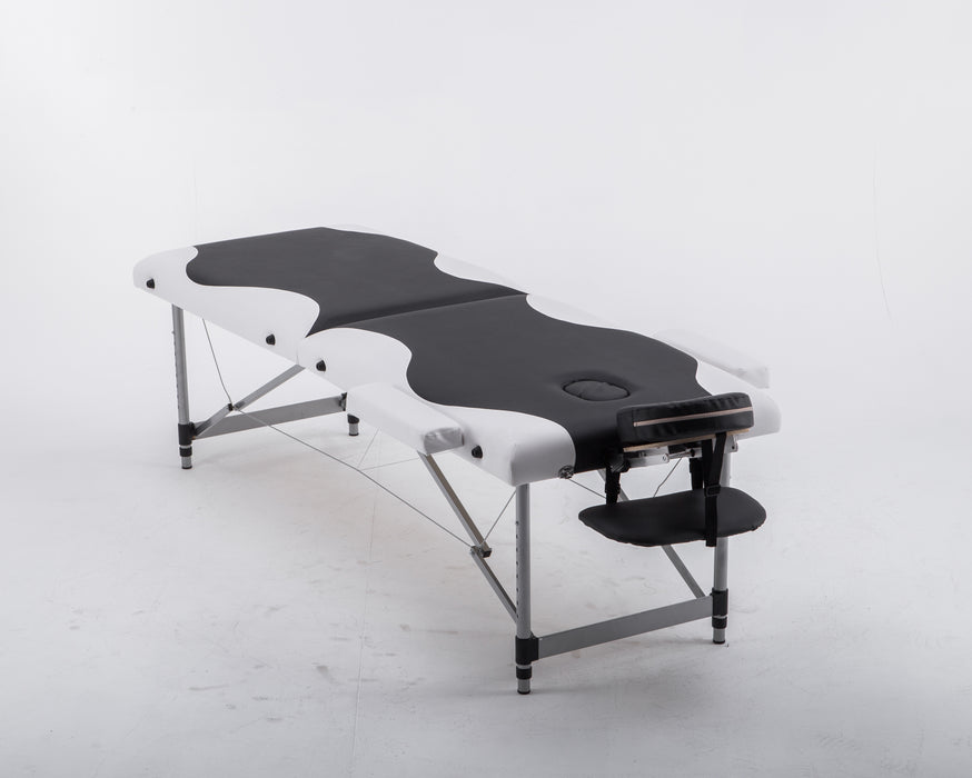2'' Pad Aluminum Portable Massage Table Bed Spa Facial Free Carry Case 6150-AL22BW