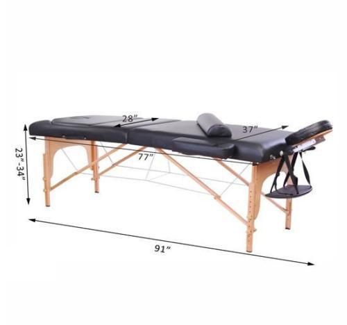 Portable 3 Fold 4'' Massage Table Facial SPA Bed Tattoo w/Free Carry Case SL34BK Black