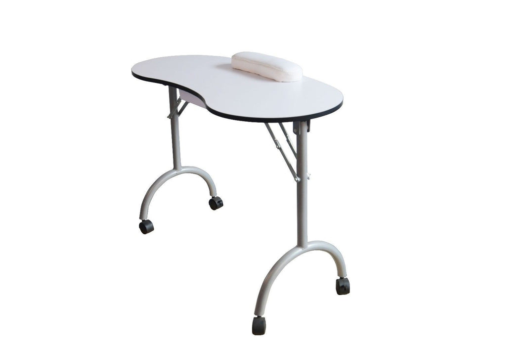 BarberPub Portable Manicure Nail White Table Desk Spa Beauty Equipment Wheels Drawer 6153-0100