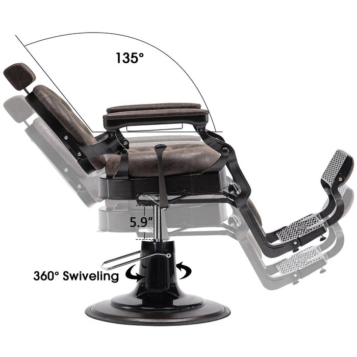 BarberPub Vintage Barber Chair Heavy Duty Metal Frame All Purpose Hydraulic Recline Salon Beauty Spa Equipment 2947
