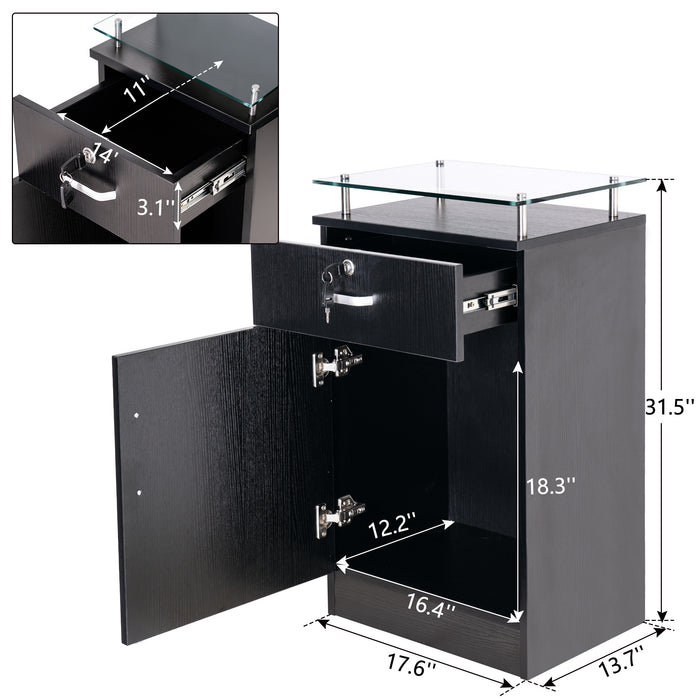 BarberPub Salon Storage Station Cabinet Locking Drawer Beauty Stylist Equipment Glass Top 3015