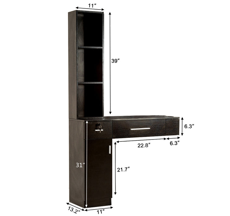 BarberPub Wall Mount Hair Styling Barber Station Frame  Nomirrored Beauty Salon Spa Equipment 3036