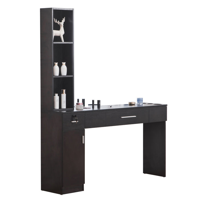 BarberPub Locking Wall Mount Hair Styling Barber Station  Dressing Table Without Mirror 3046-1-2