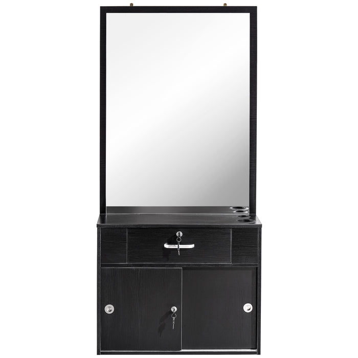 BarberPub Wall Mount Barber Salon Station with Vanity Mirror Makeup Table Desk Drawers Beauty Stylist Equipment 3066