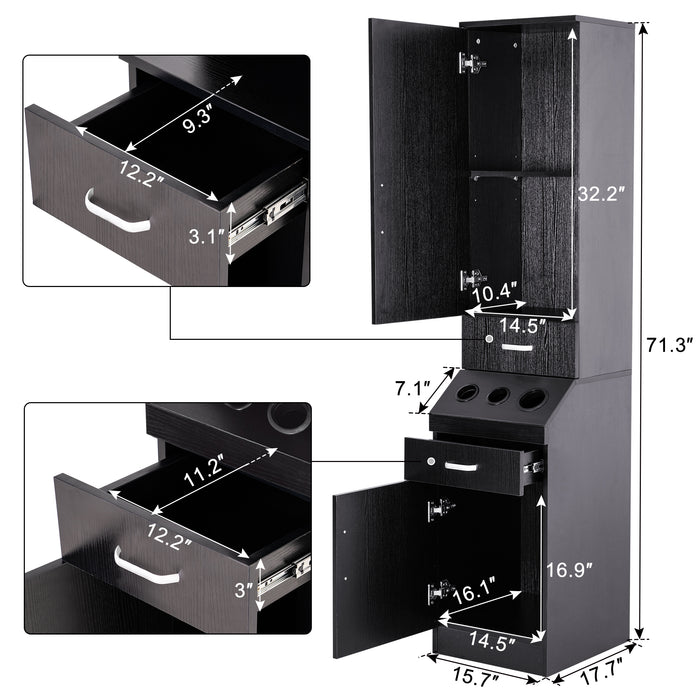 BarberPub Wall Mount Barber Station Hair Styling Drawer Storage Beauty Salon Spa Equipment 3207