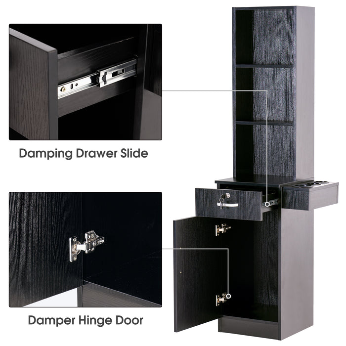 BarberPub Wall Mount Barber Station Hair Styling Drawer Storage Beauty Salon Spa Equipment 3208
