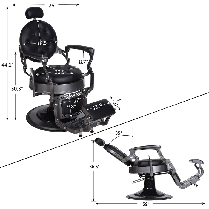 BarberPub Vintage Barber Chair Heavy Duty Metal Frame All Purpose Hydraulic Recline Beauty Salon Spa Equipment 3848