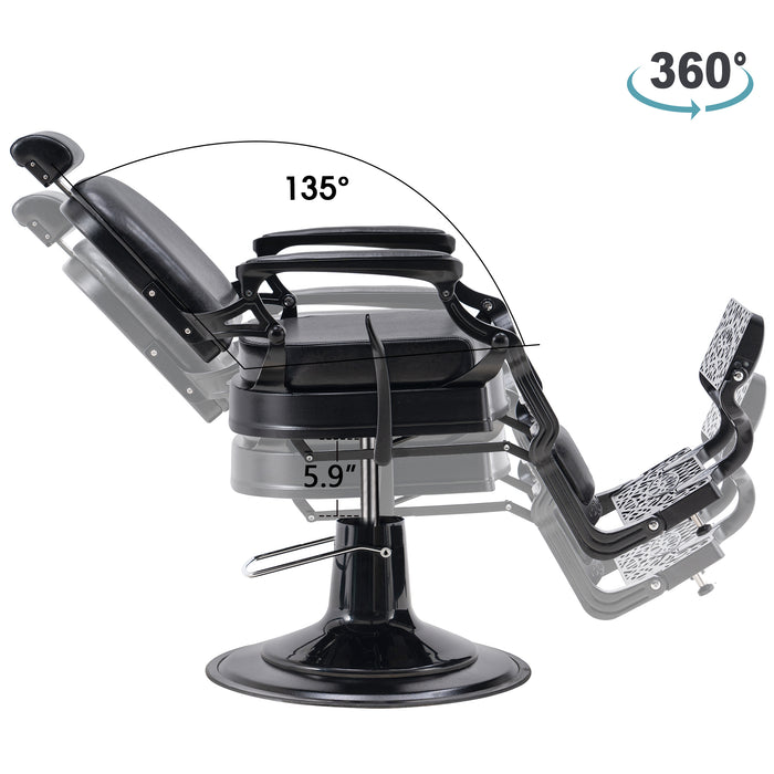 BarberPub Heavy Duty Vintage Barber Chair All Purpose Hydraulic Recline Salon Beauty Spa Equipment 3850