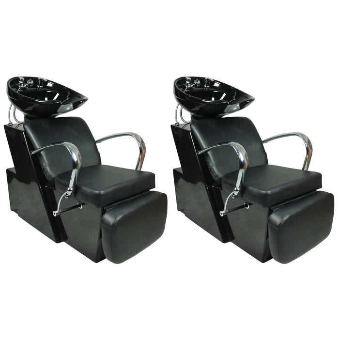 BarberPub Two Backwash Ceramic Shampoo Bowl Sink Chair Station Beauty Spa Salon Equipment 0648 Black
