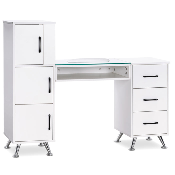 BarberPub Manicure Table, Nail Makeup Desk with Drawers, Storage Beauty Salon Workstation 2611