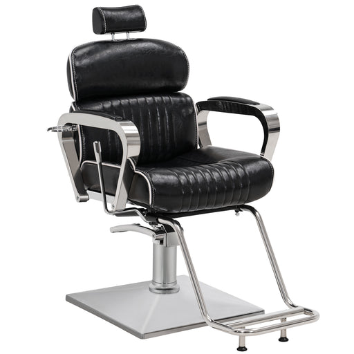 BarberPub Luxurious Barber Chair Metal Hydraulic Recline Beauty Spa Styling Equipment 3078