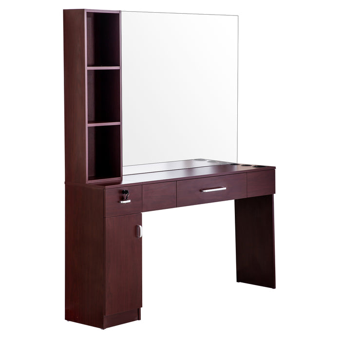 BarberPub Wall Mount Makeup Mirrors Station Hair Styling Barber Station Beauty Salon Spa Equipment 3046