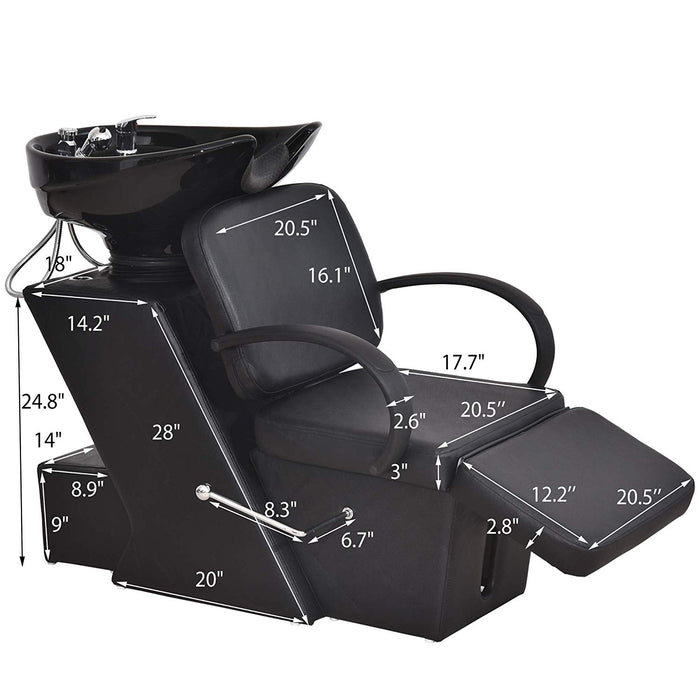 BarberPub Ceramic Bowl Shampoo Chair Adjustable Backwash Sink Barber Chair for Salon Beauty Spa Unit Station 9051