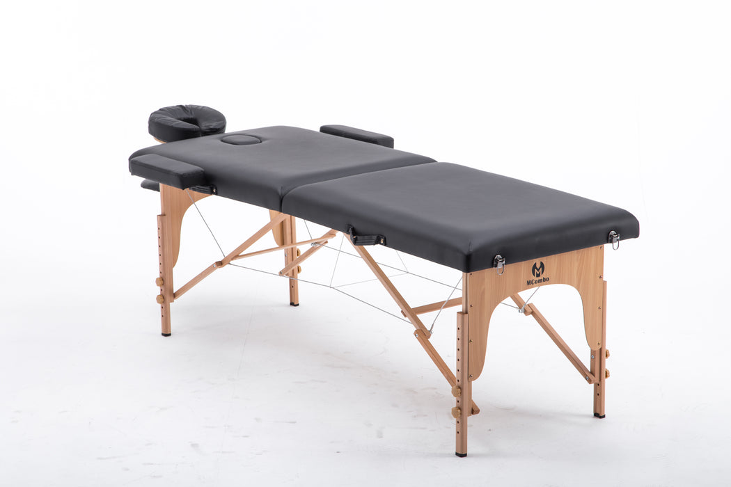 Portable 2 Fold 2'' Massage Table Facial SPA Bed Tattoo w/Free Carry Case 6150-S022BK