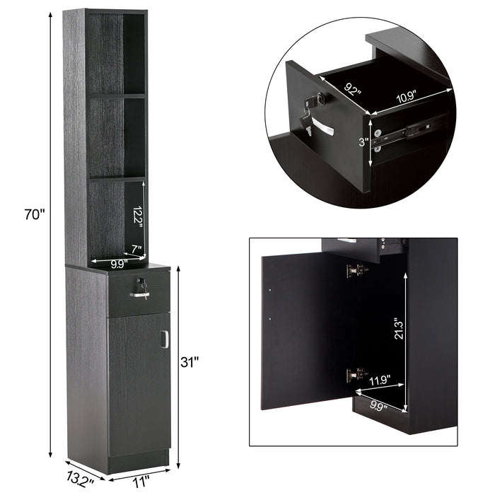 BarberPub Locking Wall Mount Hair Styling Barber Station Drawer Storage Beauty Salon Spa Equipment 3036-1