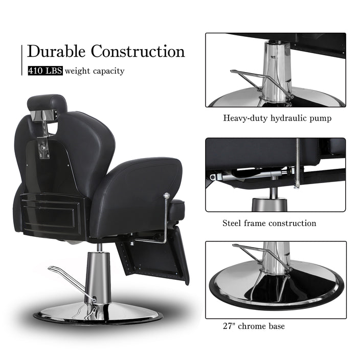 BarberPub Hydraulic Barber Chair Recline Professional Salon Beauty Spa Styling Equipment 2692 Black