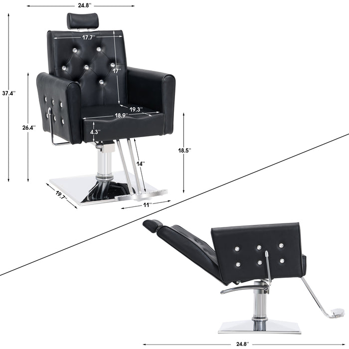 BarberPub Classic Hydraulic Barber Chair Salon Beauty Spa Chair Styling 2060 Black