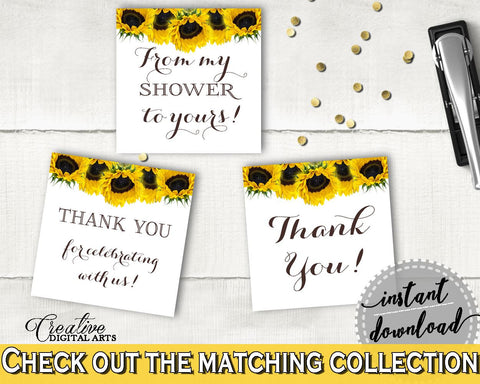 Favor Tags Bridal Shower Favor Tags Sunflower Bridal Shower Favor Tags Bridal Shower Sunflower Favor Tags Yellow White pdf jpg SSNP1 - Digital Product