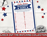 Alphabet Game Baby Shower Alphabet Game Baseball Baby Shower Alphabet Game Baby Shower Baseball Alphabet Game Blue Red printable YKN4H - Digital Product
