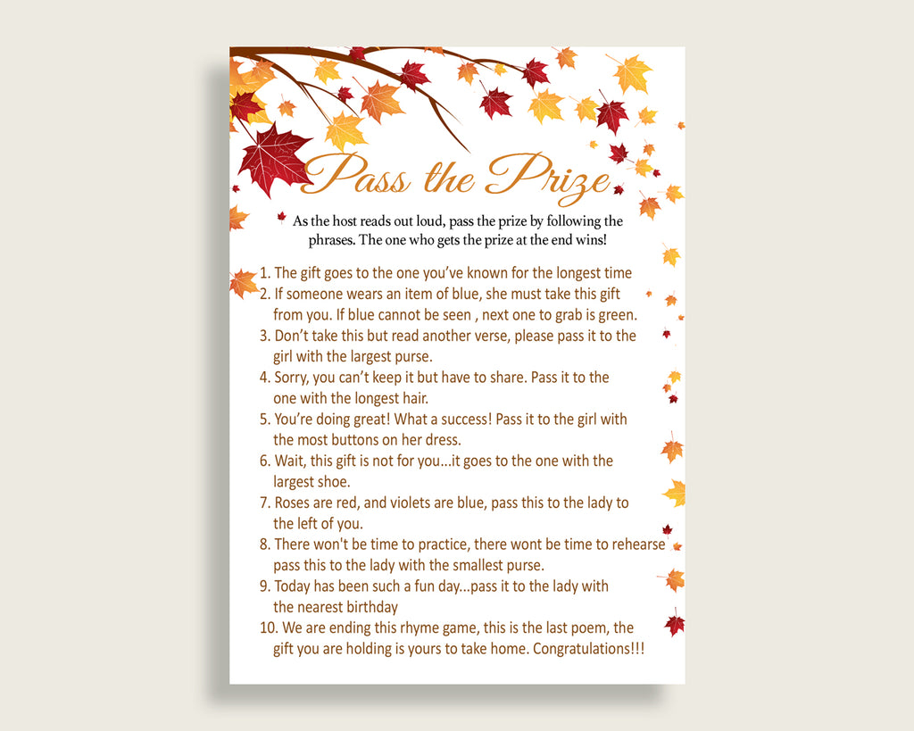 Pass The Prize Bridal Shower Pass The Prize Fall Bridal Shower Pass The Prize Bridal Shower Autumn Pass The Prize Brown Yellow party YCZ2S