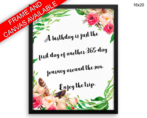 Birthday Print, Beautiful Wall Art with Frame and Canvas options available  Decor