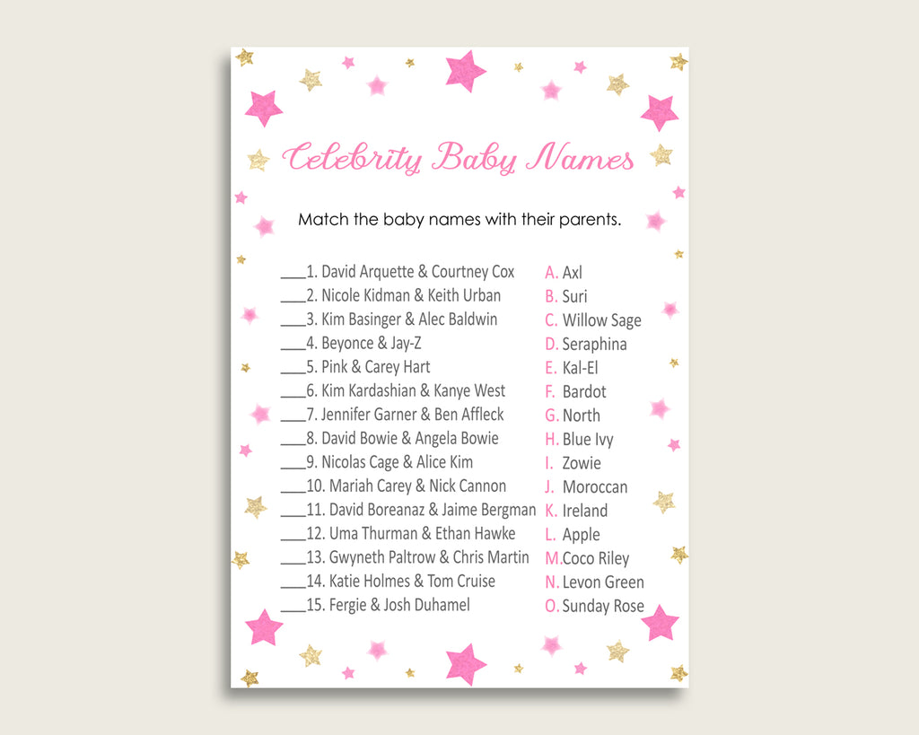 Pink Gold Celebrity Baby Names, Twinkle Star Baby Shower Girl Name Game Printable, Celebrity Match Game, Famous Babies Game, Celebrity bsg01