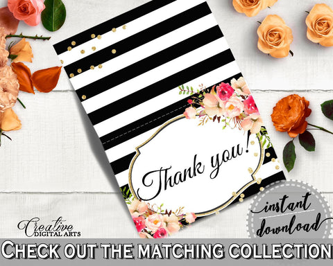 Flower Bouquet Black Stripes Bridal Shower Thank You Card in Black And Gold, thank-you note, glistening flowers, shower celebration - QMK20 - Digital Product
