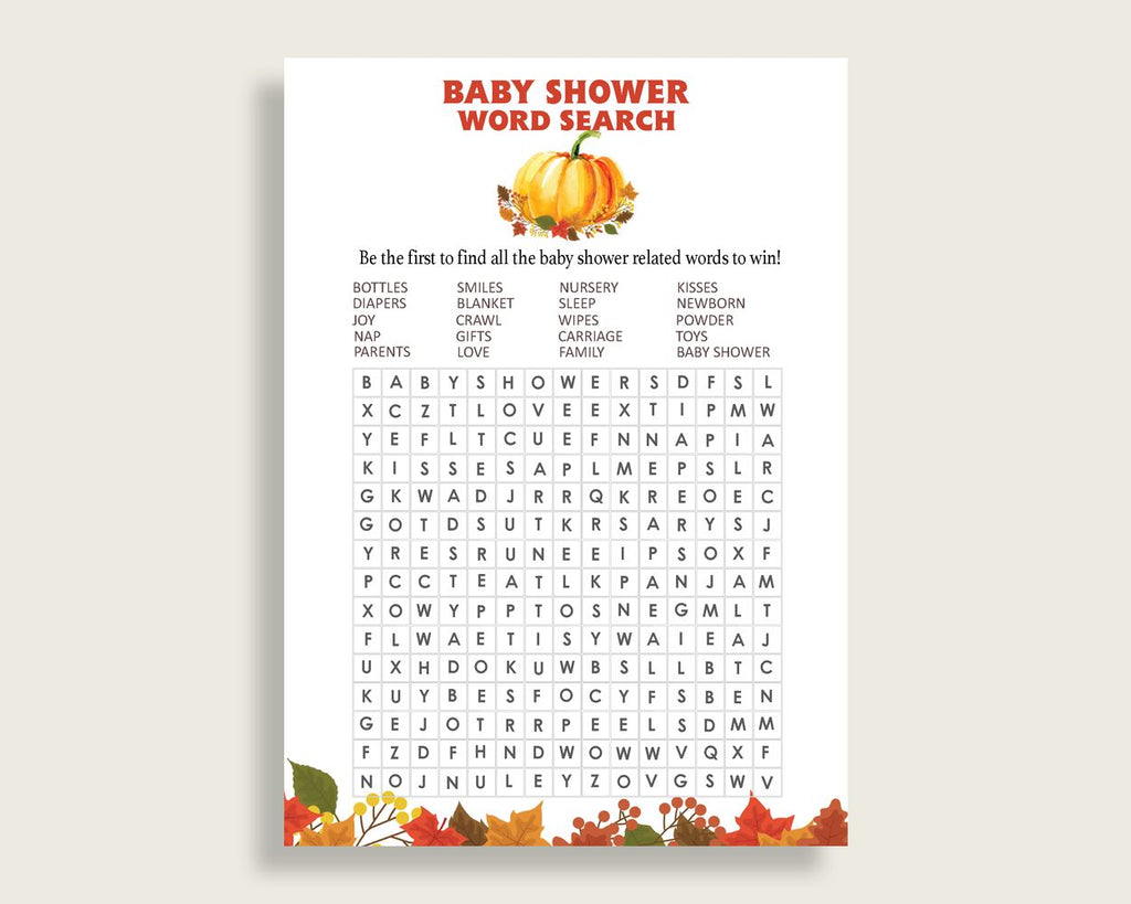 Word Search Baby Shower Word Search Fall Baby Shower Word Search Baby Shower Pumpkin Word Search Orange Brown party supplies prints BPK3D - Digital Product