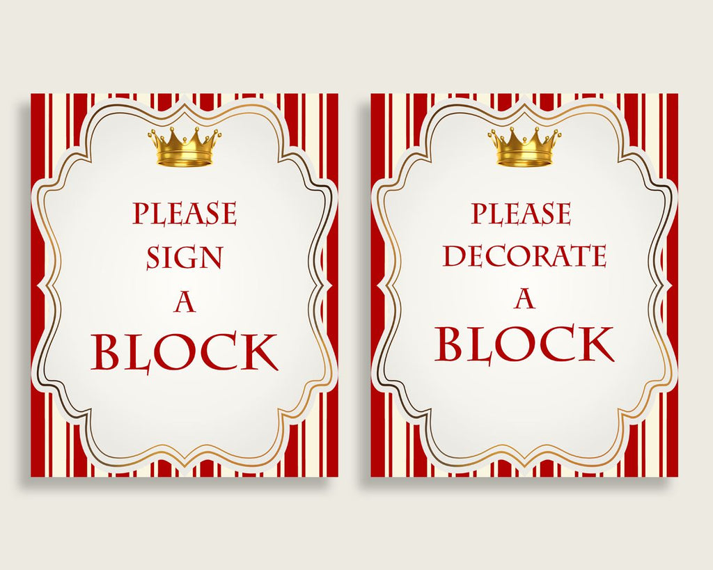 Red Gold Please Sign A Block Sign and Decoarate A Block Sign Printables, Prince Boy Baby Shower Decor, Instant Download, Most Popular, 92EDX