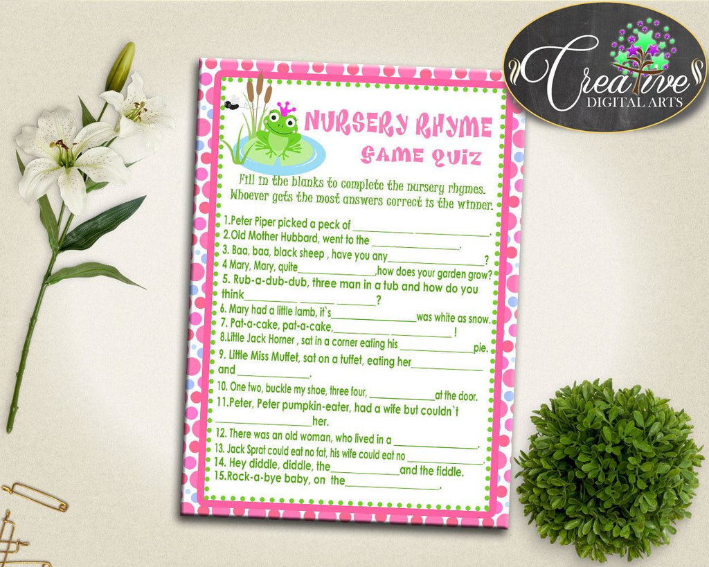 Baby Prince Charming Baby Shower Frogs Little Miss Muffet Little Jack Horner NURSERY RHYME QUIZ, Pdf Jpg, Printable Files - bsf01 - Digital Product