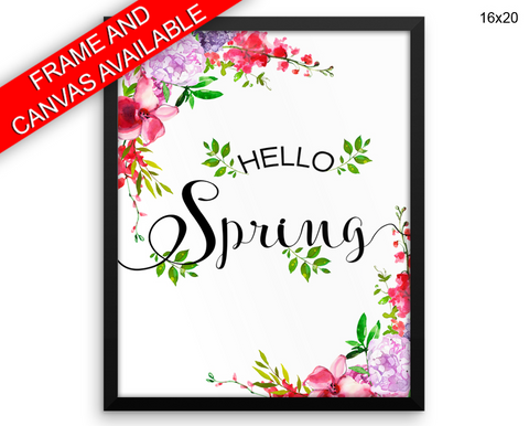 Hello Spring Print, Beautiful Wall Art with Frame and Canvas options available Spring Decor