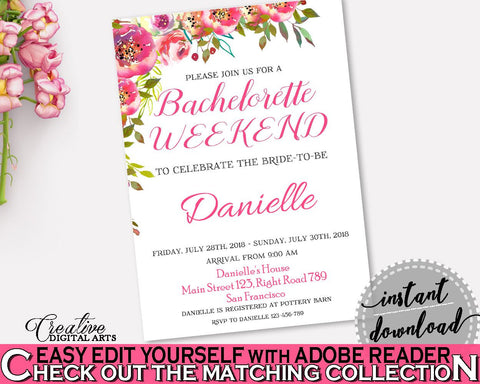 Bachelorette Weekend Invitation Bridal Shower Bachelorette Weekend Invitation Spring Flowers Bridal Shower Bachelorette Weekend UY5IG - Digital Product