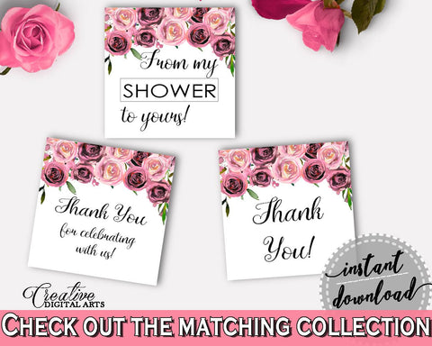 Favor Tags Bridal Shower Favor Tags Floral Bridal Shower Favor Tags Bridal Shower Floral Favor Tags Pink Purple digital print - BQ24C - Digital Product