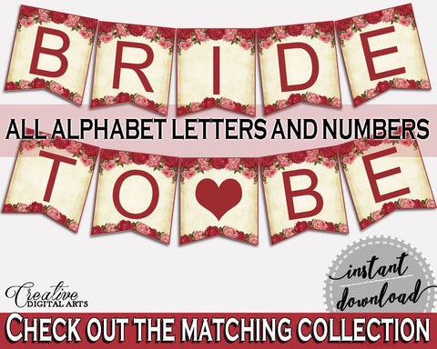 Banner Bridal Shower Banner Vintage Bridal Shower Banner Bridal Shower Vintage Banner Red Pink party decor, paper supplies, prints XBJK2 - Digital Product