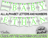 Baby shower BANNER decoration printable with chevron green theme for boy girl shower, all letters, digital files, instant download - cgr01