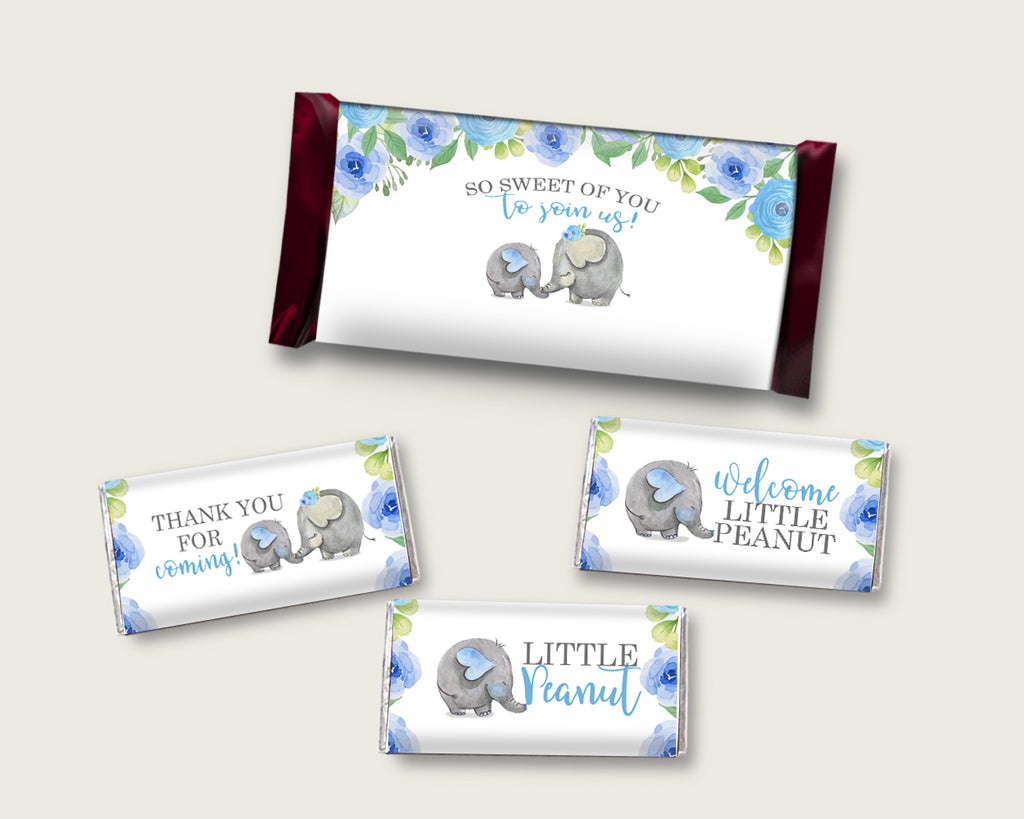 Elephant Blue Hershey Candy Bar Wrapper Printable, Blue Gray Chocolate Bar Wrappers, Boy Shower Candy Labels, Instant Download, ebl01