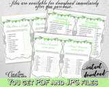 Green Baby Shower games package bundle printable with chevron green theme, 8 games pack, jpg and pdf - Instant Download - cgr01