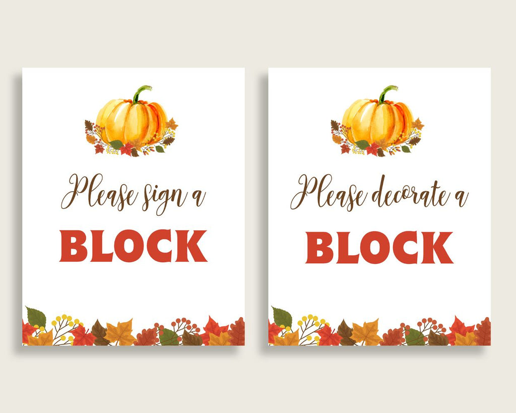 Sign A Block Baby Shower Decorate A Block Fall Pumpkin Baby Shower Sign A Block Baby Shower Fall Pumpkin Decorate A Block Orange Brown BPK3D - Digital Product