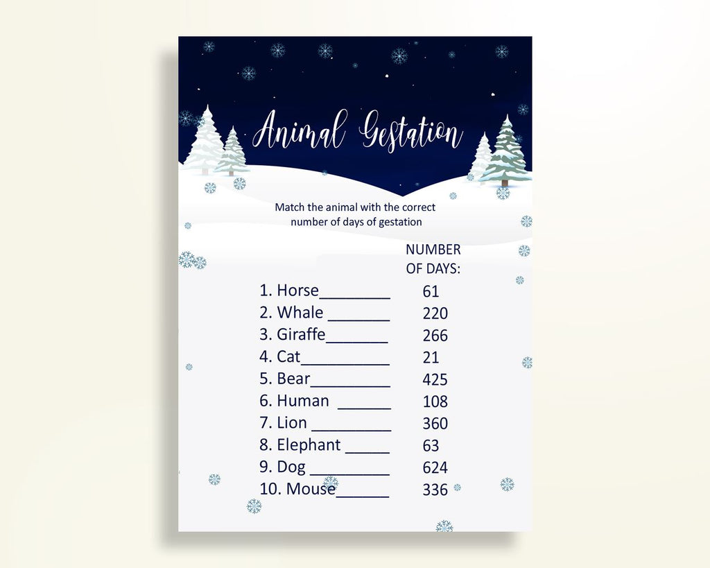 Animal Gestation Baby Shower Animal Gestation Winter Baby Shower Animal Gestation Baby Shower Winter Animal Gestation Blue White party 3E6QO - Digital Product