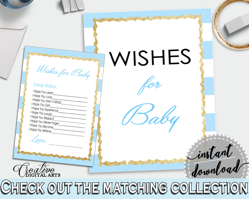 WISHES FOR BABY activity advice for baby shower with blue stripes theme printable, glitter gold, Jpg Pdf, instant download - bs002