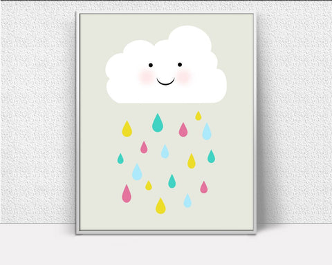 Wall Art Drops Digital Print Cloud Poster Art Drops Wall Art Print Cloud Nursery Art Cloud Nursery Print Drops Wall Decor Drops Baby Art - Digital Download