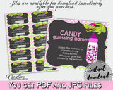 CANDY GUESSING GAME sign and tickets for baby shower with green alligator and pink color theme, instant download - ap001