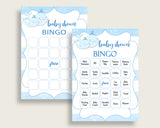 Whale Baby Shower Bingo Cards Printable, Blue White Baby Shower Boy, 60 Prefilled Bingo Game Cards, Light Blue Watercolor Stripes wbl01