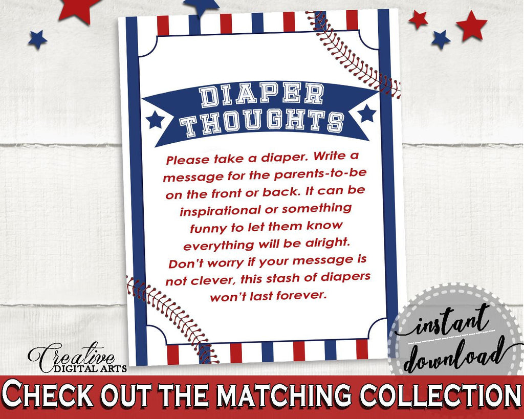 Diaper Thoughts Baby Shower Diaper Thoughts Baseball Baby Shower Diaper Thoughts Baby Shower Baseball Diaper Thoughts Blue Red YKN4H - Digital Product